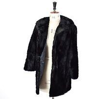 Women's Black GENUINE MOLE FUR Deco Glam 1920s Style Smart Gothic Jacket UK L