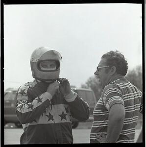 Dragster Driver with 'Fearless' Helmet - Vintage B&W Drag Racing Negative