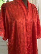 Vintage Eve Stillman Red Lacy Satin Wrap Short Robe Sz L