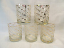 Vintage Culver Glass Signed Five (5) Low Ball Tumblers Frosted Gold Stripes