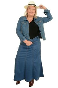 Ladies Women Long Flared Stonewash Stretch Denim Maxi Skirt Sizes 8 to 26