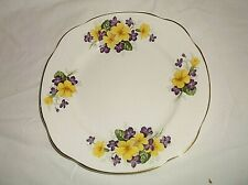 Duchess Bone China England Yellow Flowers Purple Violets Luncheon Salad Plate 8""