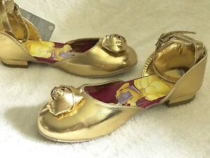 Disney Store Beauty and the Beast Belle Costume Shoes Girls Kids Gold Formal