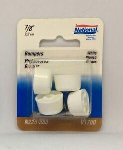 """NOS National Hardware 7/8"""" White Plastic Bumper V1700 4 Pack Screw On Chair Leg"""