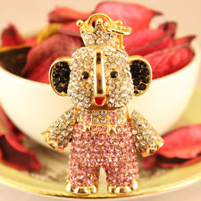 Personalized Pink Elephant Keychain Rhinestone Crystal Cute Animal Gift 01186