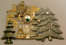 """Vintage Gold Finish Metal Santa on Roof w/ Trees Pin Good Condition 2.25"""" x 1.75"""