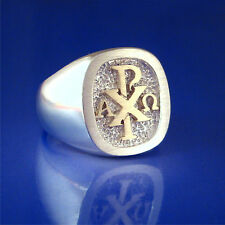 Chi Rho Alpha Omega Ring 14K Gold & Sterling Silver - Size 8 to 14   (55-63)