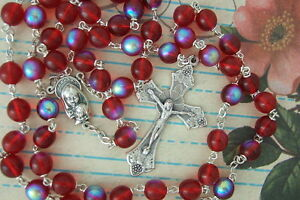 Catholic Rosary Large 8mm RUBY RED AB Glass Beads Nice Crucifix medal NOS