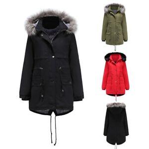 Women's Fleece Lined Hooded Jacket Coats Outwear Thicken Winter Warm Overcoat