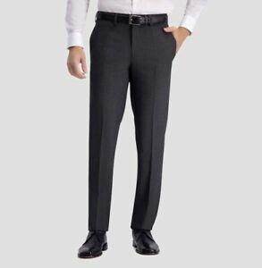 HAGGAR H26 MENS STRAIGHT FIT DRESS PANTS NO IRON SLACKS DARK GREY HEATHER VARY