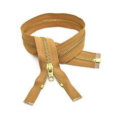"""Brown 60cm 23.5"""" Inch Chunky Zip Open End Zips Military Heavy Duty Brass Zipper"""