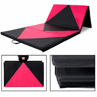 "4' x 10' x 2"" Gymnastics Gym Mat Folding Exercise Yoga Panel Fitness Pink Black"