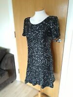 Ladies NEXT Dress Size 14 Black Grey Full Sequin Party Evening Wedding Races