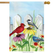 "Birdsong Spring House Flag Picket Fence Flowers Cardinals Chickadees 28""x40"""