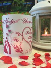 4xTischlicht Hochzeit Pink Tischdeko Windlicht Deko mit Namen Datum Gastgeschenk