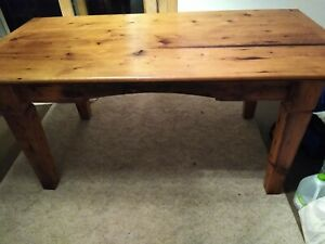 Rustic Solid Wood Dining Table Tapered Block Leg Farmhouse Style Vintage Look