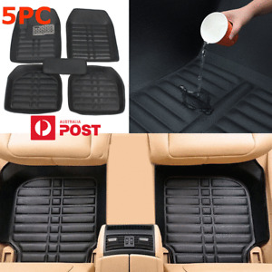 5x PU Leather Car Front & Rear Floor Mats Pad Carpet Black All Weather Protector