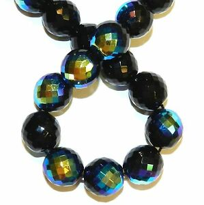 """CZ715 Jet Black AB 14mm Fire-Polished Faceted Round Czech Glass Beads 16"""""""