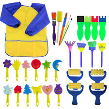 30Pcs Set Kids Painting Brushes Set Eva Sponges Apron Smock Children Baby Toys
