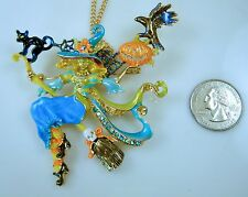 KIRKS FOLLY TEAL ENYA DIVINE DIVA WITCH PIN /PENDANT NECKLACE  Halloween GF