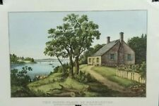 Currier & Ives Lithograph Reprint The Birth Place of Washington Child Home