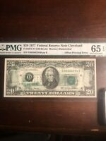$20 1977 FRN (Offset Printing of Back to Front) Gem Unc 65 EPQ Pmg Certified
