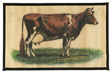 """Laser Printed Split Bamboo 12""""x18"""" Placemat, Set of 6 - Cow"""