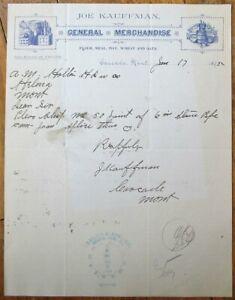 Cascade, MT 1895 Letterhead: Kauffman Flour/Meal/Hay/Wheat - Montana - Gray