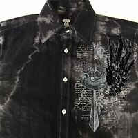 Route 66 Men's (S) Black Long Sleeve Cross Embroidered Button Down Shirt EUC
