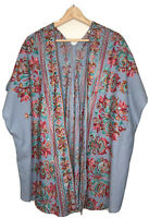Umgee Light Blue Chambray Open Front Kimono Wrap with Floral Embroidery Size M/L