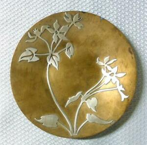 Arts & Crafts Bronze Sterling Overlay Pin Dish Tray
