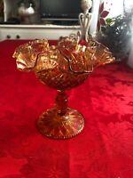 Vintage Fenton Fluted Amber Glass Pedestal Dish