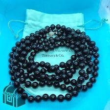 """Tiffany & Co. 925 Silver Ziegfeld 10mm Black Onyx 80"""" Necklace w Receipt (Pouch)"""