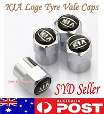4X KIA Black Logo Emblem Wheel Tyre Valve Stems Air Dust Cover Screw Caps car