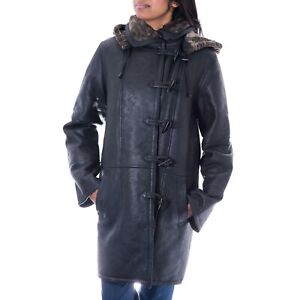 Womens Luxurious Black Leather and Shearling Sheepskin Winte Duffle Coat.