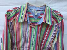 TOMMY HILFIGER WOMAN MULTI-COLOR RAINBOW BUTTON DOWN LONG SLEEVE SHIRT SIZE 22