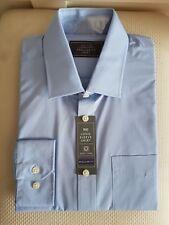 "BHS Mens Smart Long Sleeve Shirt Casual Light Blue Collared Regular Fit 16"" New"