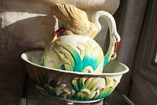 Antique Large Swan Water Pitcher and Wash Basin set Majolica