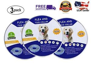 LARGE Flea / Tick Collar for Dogs & Cats 3pk. (Long Lasting!) All Natural 24 in