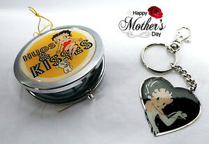 Betty Boop Mothers Day gift - Betty Boop Hugs & Kisses Compact Mirror & Keyring