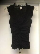 CASADEI Black Ruffle V Neck Lace Up Tie Sleeveless Ruched Gathered Top SEXY
