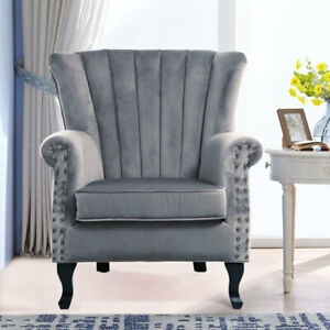 Scallop Back Velvet Armchair Occasional Accent Chair Studded Soft Padded Seat UK