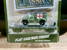 Gearbox Floor Flyer Army Transport Train Flat Car with Box Truck Diecast