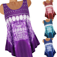Women Boho Casual T Shirt Sleeveless Tank Top Summer Vest Loose Blouse Plus Size