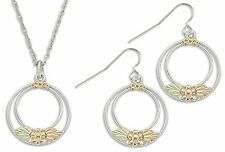 "Landstrom's Black Hills Gold on Silver Double Circle Jewelry Set Hooks 18"" Chain"