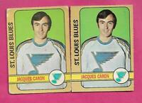 2 X 1972-73 OPC  # 140 BLUES JACQUES CARON  ROOKIE  CARD  (INV# C2887)