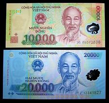 2 Vietnam banknotes x 10000 (10,000) and 20000 (20,000) Dong