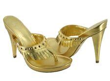 BCBGIRLS METALIC GOLD SLIP ONS PLATFORMS THONG HIGH HEEL SANDALS SHOES 5.5 6