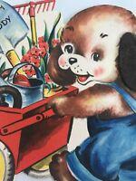 Vintage Birthday Card Anthropomorphic Hallmark puppy 1948 Die Cut Chewed Edges