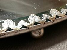 "Antique 14"" Silverplate Plateau Beveled Mirror Metal Filigree Trim Vanity Tray"